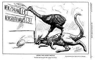 """1907 New Zealand rugby union tour of Australia - """"After the rugby battle"""", depicting the New Zealand 11 - NSW Waratahs 3 first match. Illustration by John Collis Blomfield published on The New Zealand Free Lance"""