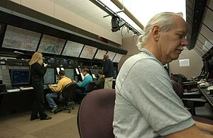 Area Control Center - Controllers at work at the Washington Air Route Traffic Control Center, United States.