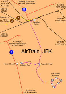AirTrain system and connections map