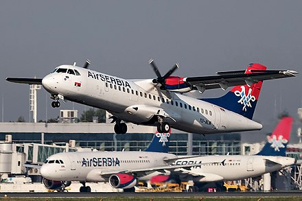 Air Serbia's airplane taking off from Belgrade Nikola Tesla Airport Air Serbia ATR-72-202 taking off from Belgrade Airport.jpg