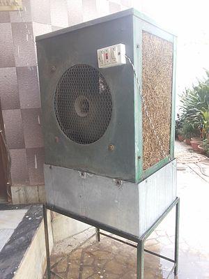Evaporative cooler - A traditional air cooler in Mirzapur, Uttar Pradesh, India