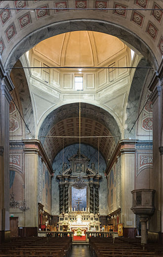 Ajaccio Cathedral - Inside view of the nave and of the choir