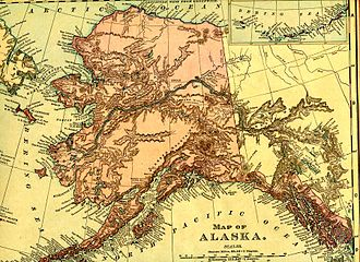 History of Alaska - Alaska in 1895 (Rand McNally). The boundary of southeastern Alaska shown is that claimed by the United States prior to the conclusion of the Alaska boundary dispute.