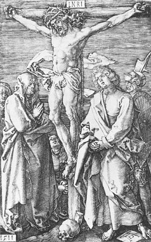 Crucifixion with the Virgin and St John - Image: Albrecht Dürer Crucifixion (No. 11) WGA7306
