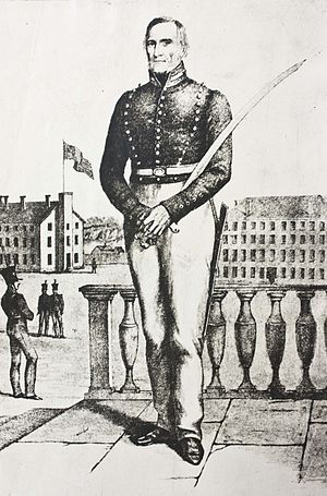Alden Partridge - Alden Partridge with cadets at a military academy. From an 1840 engraving, courtesy of the Norwich Historical Society