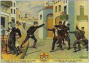 Farbzeichnung des Anschlags auf Georg 1. von Governo da Grécia, 1920