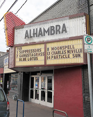 Alhambra Theatre (Portland, Oregon) - The theater's front entrance in 2014
