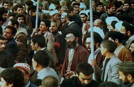 Khamenei in a protest during Iranian Revolution in Mashhad Ali Khamenei in Iranian Revolution protests.jpg