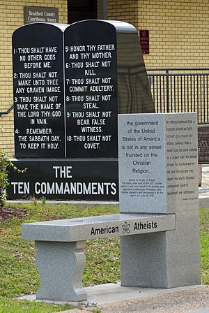 Bradford County, Florida - American Atheists bench and Ten Commandments display at the courthouse