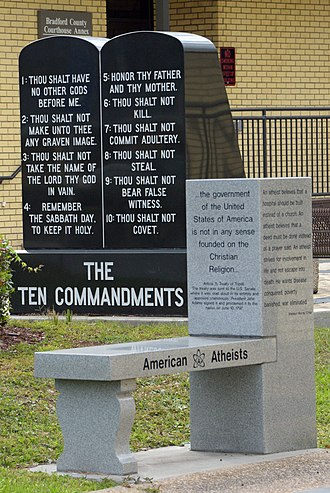 American Atheists - American Atheist bench and Ten Commandments display.