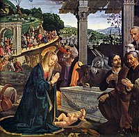 Square panel. The nativity of Jesus. Some ancient Roman columns are used to support a stable roof. A stone coffin has been reused as a feed trough. To the left, the Virgin Mary in a red dress, blue cloak and sheer veil kneels to worship the Christ Child, who is a plump baby lying in the foreground. Three shepherds, the ox and the donkey are worshipping the child. Beside Mary, Joseph looks up to see a long procession coming, as the Three Wise Men draw near, with their retinue.