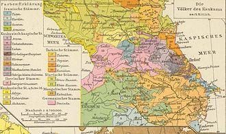 Richard Andree - Ethnographic map of the Caucasus region, 1881
