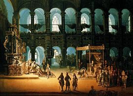 The anointing of Christian V in the palace chapel of Frederiksborg Castle, 1671 Anointing og Christian V of Denmark 1671.jpg