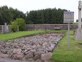 Antonine Wall - Stone foundation of the Wall in Bearsden