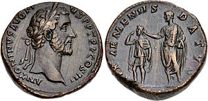 Kingdom of Armenia (antiquity) - Roman coin of 141 AD, showing emperor Antoninus Pius holding a crown on the Armenia King's head