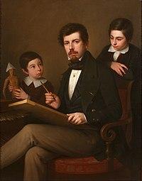 Antonio Mª Esquivel - Self-portrait with his sons Carlos and Vicente - Google Art Project.jpg