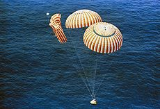 Apollo 15 descends to splashdown