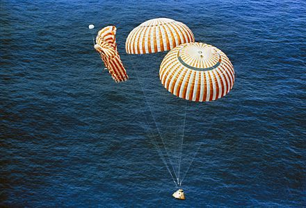 The Apollo 15 spacecraft landed safely despite a parachute line failure in 1971. Apollo 15 descends to splashdown.jpg