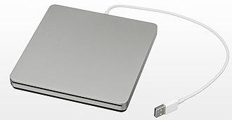 MacBook Pro - The Retina MacBook line has no internal optical drives. External drives such as Apple's SuperDrive (pictured) must be used instead.