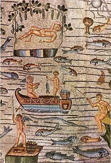 Riposo di Giona e scene di pesca nei mosaici della Basilica di Aquileia