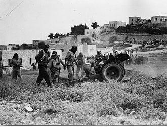 Abdullah el-Tell - Arab Legion firing 25 pounder field gun during the fighting around Jerusalem