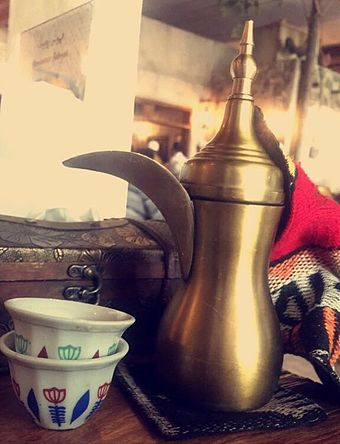 Arabic coffee is a traditional beverage in Arabian cuisine ArabicCoffee.jpg