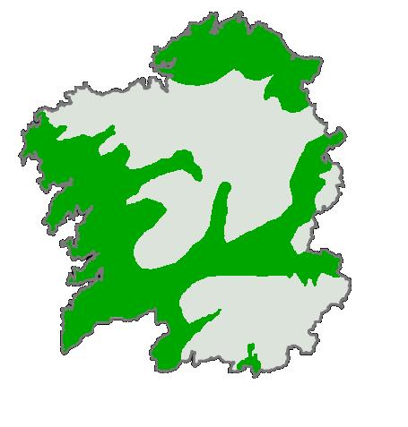 Área de distribución do érbedo en Galicia