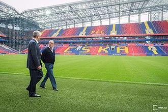 VEB Arena - Moscow mayor Sergey Sobyanin and CSKA president Yevgeni Giner during the walk at the stadium