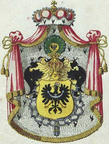 Udostojniony herb Dolnego Śląska z orderem rycerskiego zakonu Rudenband
