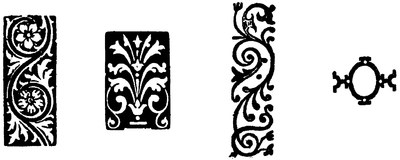 Four examples of floral patterns.
