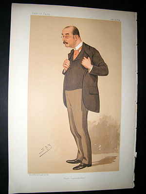 """Arthur Brand - """"North Cambridgeshire"""". Caricature by Spy published in Vanity Fair in 1894."""