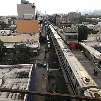 Astoria–Ditmars Boulevard (BMT Astoria Line) - Astoria–Ditmars Boulevard station seen from the New York Connecting Railroad viaduct