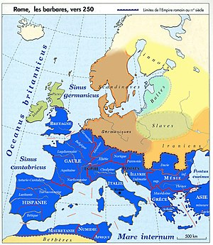 English: Historical map of Europe, french lang...