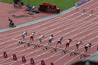 Athletics at the 2012 Summer Olympics – Women's heptathlon - Start of heat 4 in 100 m hurdles