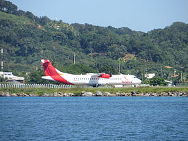Avianca ATR-72 at Roatán Airport, 12-2014.JPG