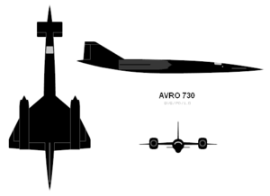 Orthographically projected diagram of the Avro 730.