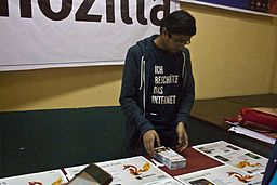 BNWIKI10-Sukanta Pal Busy at Mozilla Kiosk-Wikipedia 10th Anniversary Celebration
