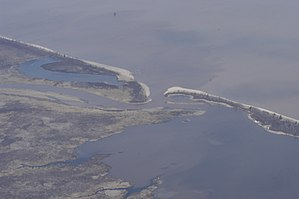 The mouth of the Bad River (center) at Lake Su...