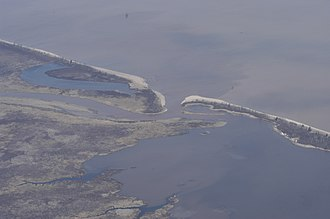 Bad River (Wisconsin) - An aerial view of the mouth of the Bad River (center) and adjacent wetlands in 2006