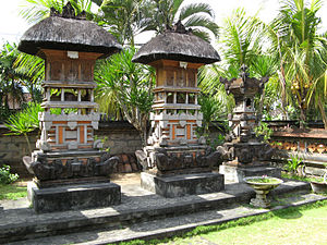 Balinese traditional house - Several house shrines belonging of a Balinese house compound.