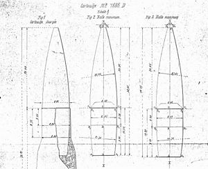 8×50mmR Lebel - Technical drawings of the French 1898 pattern Balle D bullet.