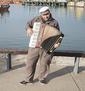 Bandoneon player in Port of Mar del Plata, Argentina