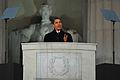 Barack Obama at Lincoln Memorial 1-18-09 hires 090118-F-4692S-024a.jpg