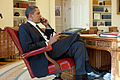 Barack Obama on the phone in the Oval Office with René Préval 2010-01-15.jpg