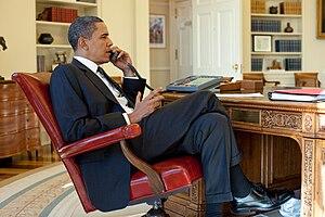 René Préval - U.S. President Barack Obama talks on the phone with Haitian President René Préval in the Oval Office, January 15, 2010
