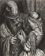 Bluebeard gives his wife a key—a motif specific to that variant of that fairy tale.