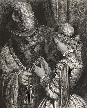 Bluebeard's Castle - Bluebeard and Judith in an illustration by Gustave Doré for Perrault's tale