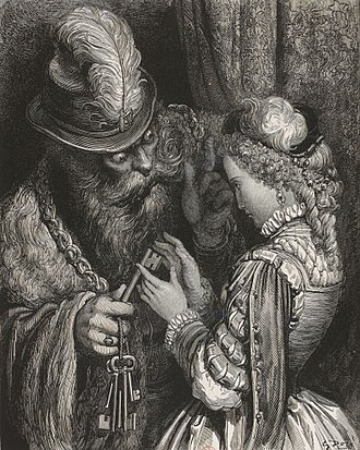 Bluebeard - Bluebeard, his wife, and the keys in a 19th-century illustration by Gustave Doré
