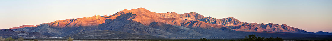 Panorama of Bare Mountain as seen from near State Route 374 between Beatty and Rhyolite.