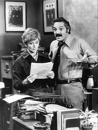 Barbara Barrie - Barrie on the set of Barney Miller in 1975 with Hal Linden